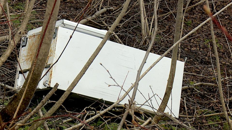 Un vieux réfrigérateur abandonné près de la route Samuel-Harrisson