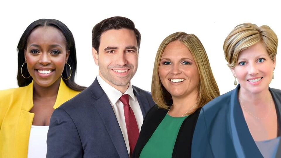 Portrait de quatre personnes souriantes - trois femmes et un homme