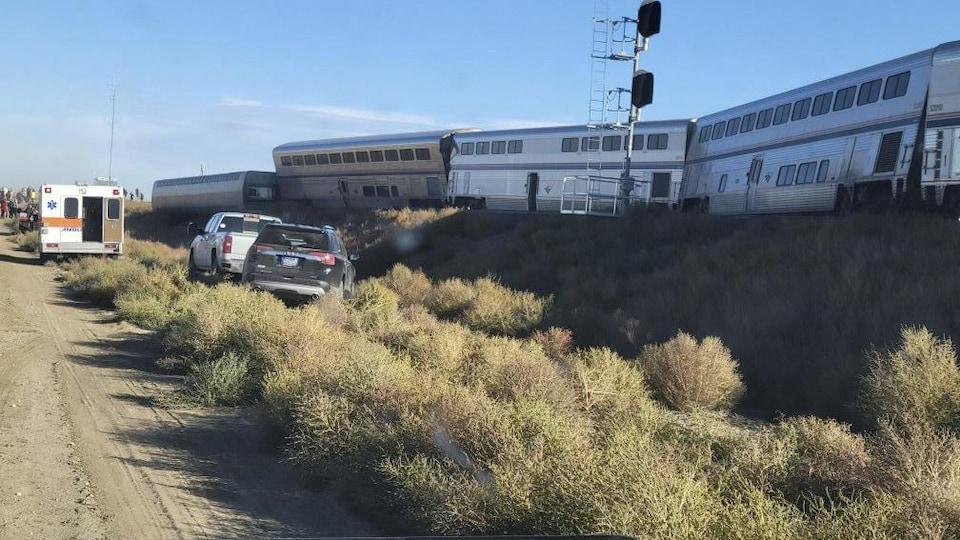 Des wagons du train Amtrak qui a déraillé le 25 septembre 2021.
