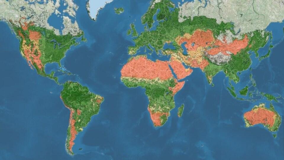 Carte du monde selon la vulnérabilité à la désertification.