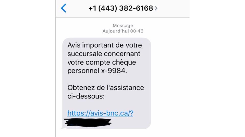 Une capture d'écran d'un message texte frauduleux semblant provenir de la Banque Nationale du Canada.