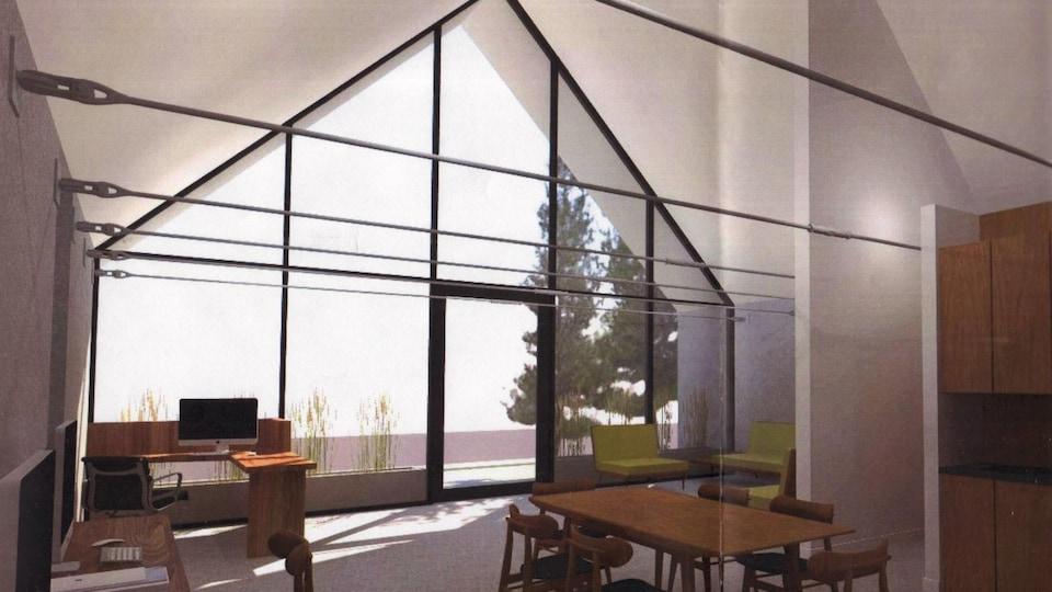 Vue intérieure, telle que dessinée par un architecte, d'un bâtiment. IL y a un pan de mur qui est vitré. À l'intérieur,on voit une pièce et du mobilier.