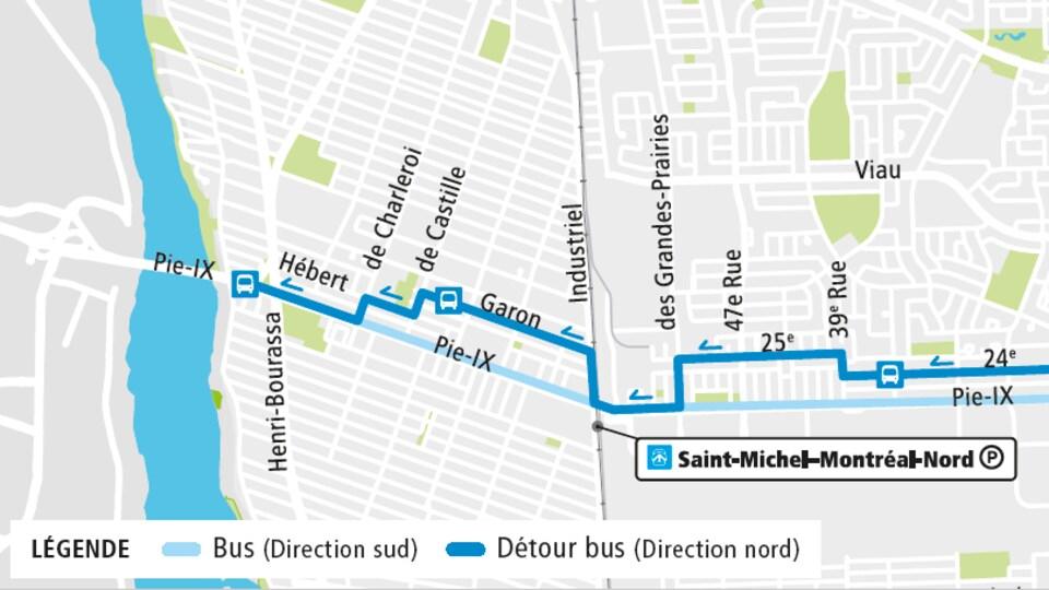 Une carte des trajets des autobus dans les deux directions.