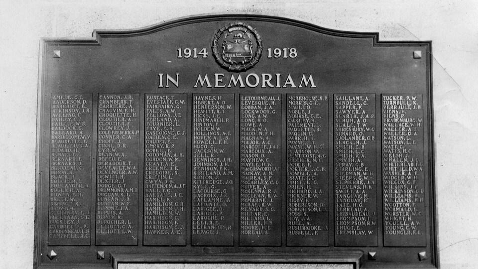 Le nom des soldats morts au combat lors de la Première Guerre mondial