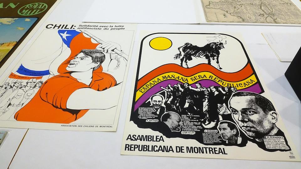 Des affiches militantes des communautés chilienne et espagnole de Montréal dans les années 70.