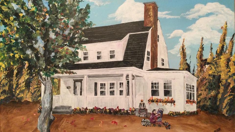 La toile de la maison blanche ancestrale montrant les deux parents, un bébé en poussette, un cochon domestique et un chien à l'avant-plan.