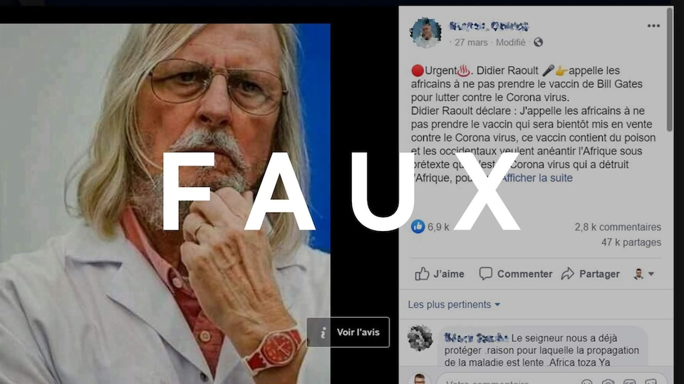 Une publication Facebook avec une photo de Didier Raoult et une fausse citation. Le mot FAUX est sur l'image.