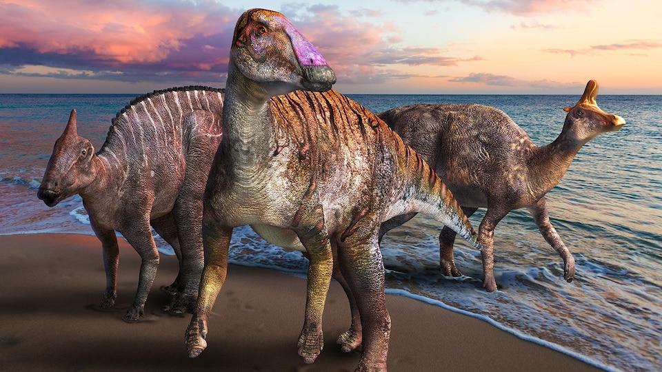 Représentation artistique d'un Yamatosaurus izanagii sur le bord de l'océan.