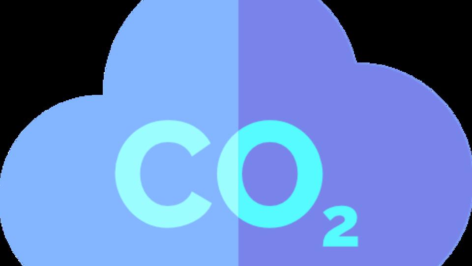 Dessin du symbole CO2 dans un nuage bleu