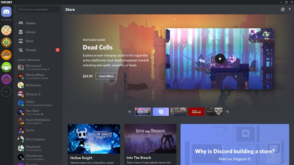 Une capture d'écran montrant la boutique en ligne de Discord, avec les jeux Dead Cells, Hollow Knight, Into The Breach, Frost Punk, Pillars of Eternity II: Deadfire et Banner Saga 3 mis en évidence.