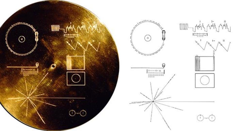 Les instructions gravés sur le disque d'or de la sonde Voyager 1