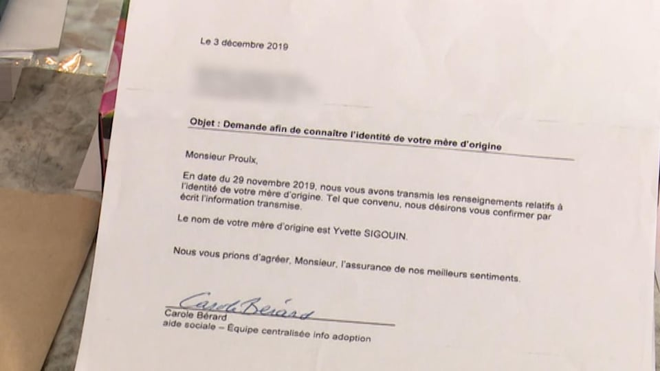 Une lettre révèle l'identité de la mère d'origine de Jacques Proulx.