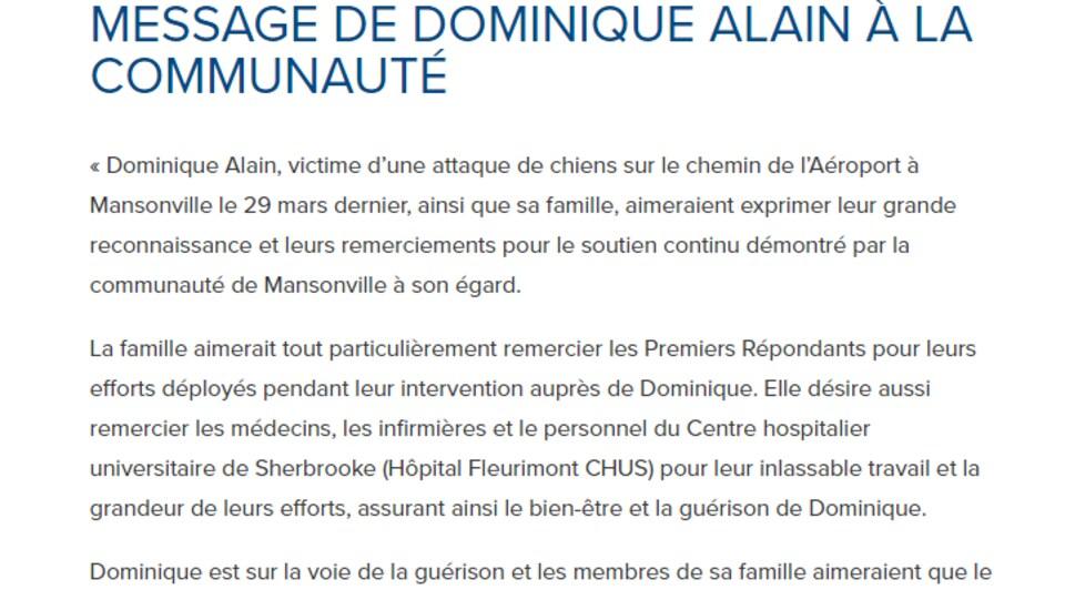 Le texte écrit par Dominique Alain publié sur le site internet du canton de Potton.