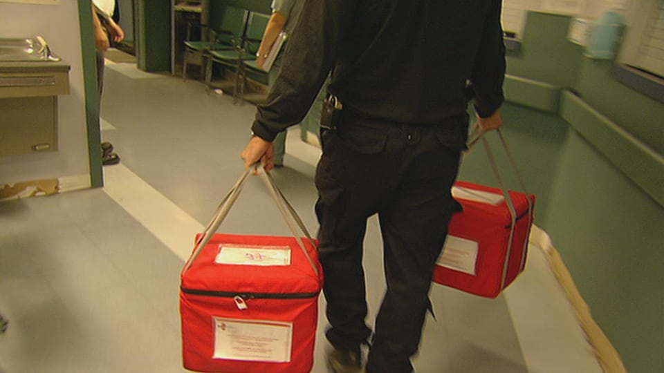 Un policier transporte des organes .