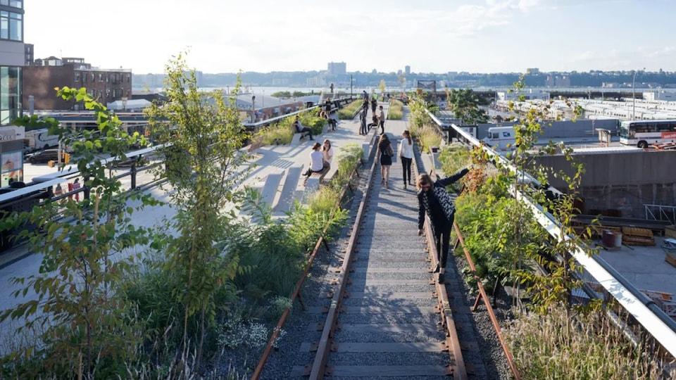 Des personnes marchent sur d'anciens rails transformés en espace vert.