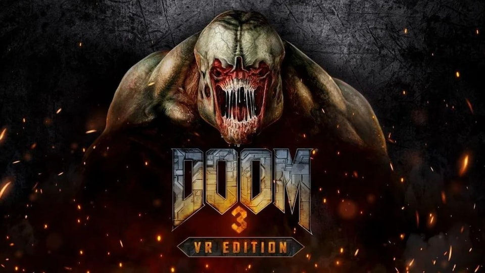 Logo de Doom 3 sur un dessin de monstre ouvrant la gueule.