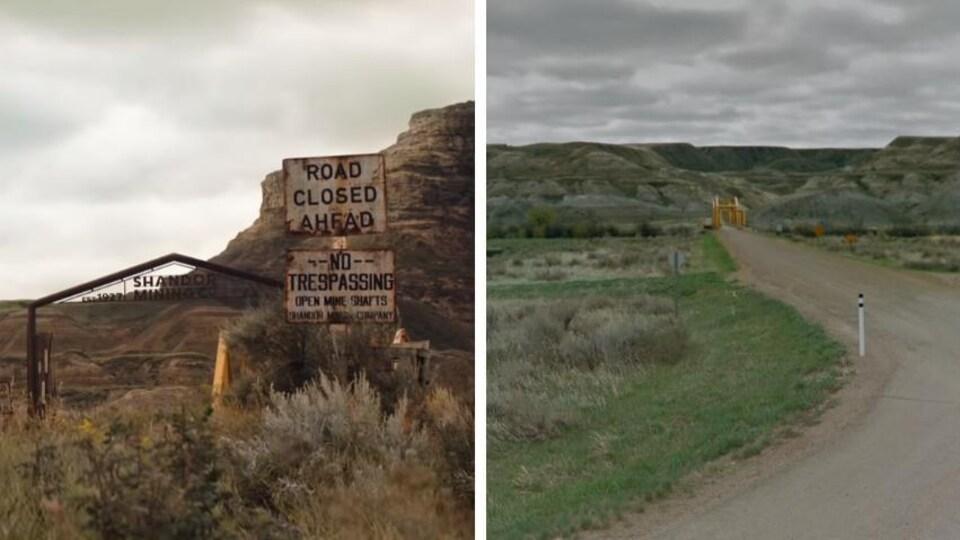 Un montage montrant a gauche l'entrée d'une mine et à droite le lieu de tournage situé près du pont Dorothy Ferry.