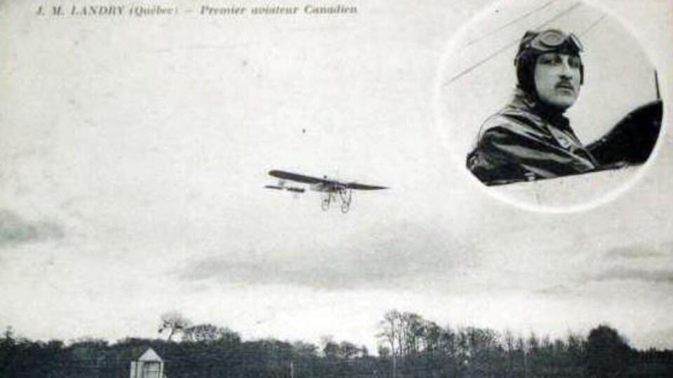 Une carte postale mettant en vedette Jean-Marie Landry, de Québec, et son avion. Landry est alors réputé comme le premier aviateur canadien.