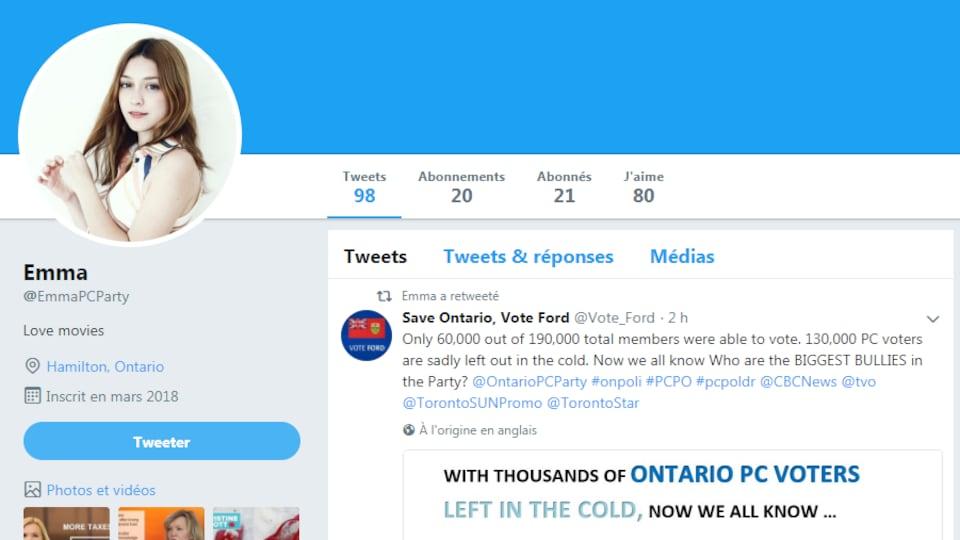 Une capture d'écran d'un faux compte Twitter.