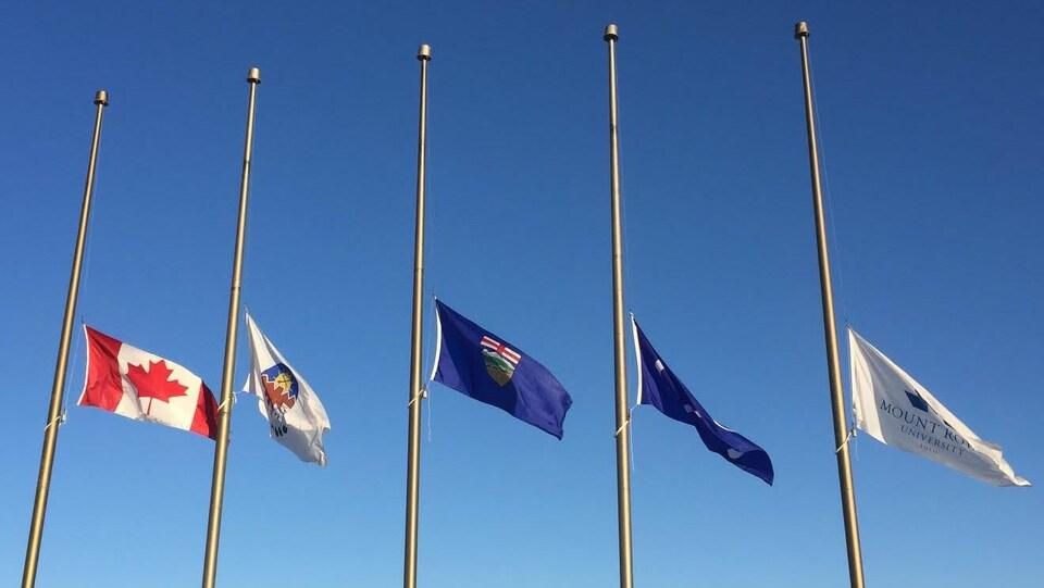 Les drapeaux sont en berne à l'Université Mount Royal de Calgary. Deux instructeurs de vols de l'institution sont morts lundi dans un accident d'avion.