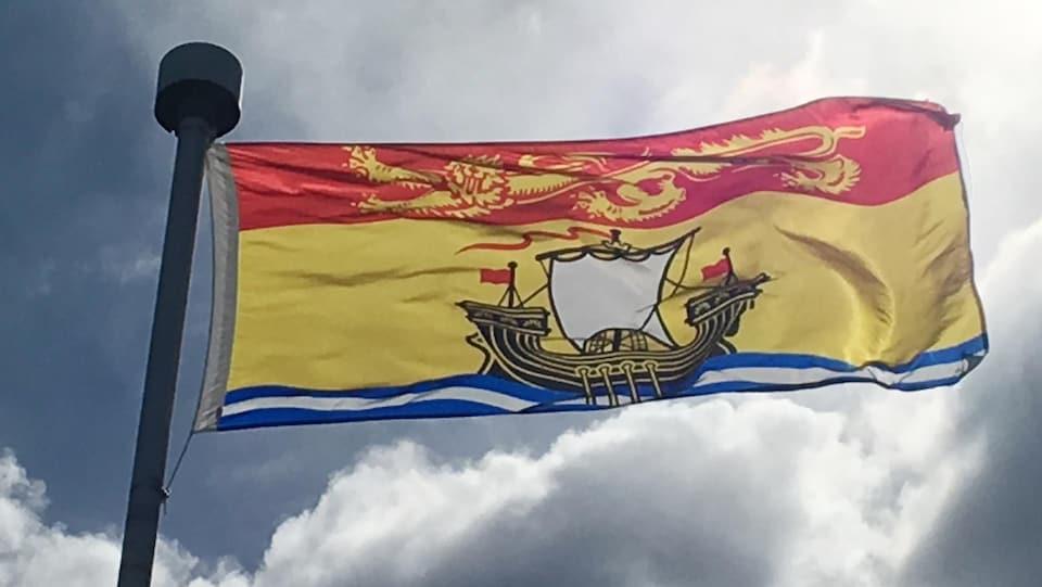 Un drapeau flottant au vent.