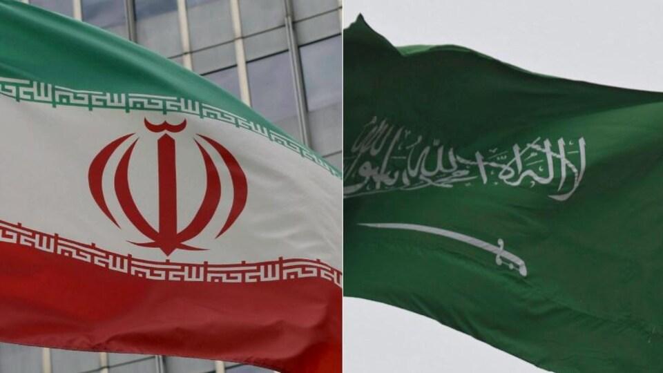 Drapeaux de l'Iran et de l'Arabie saoudite.