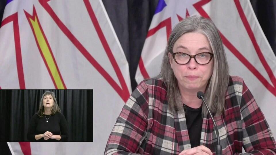 Janice Fitzgerald vêtue d'une chemise à carreaux rose et grise de style « grunge » devant un drapeau de Terre-Neuve-et-Labrador.