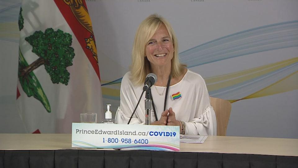 La Dre Heather Morrison, médecin hygiéniste en chef de l'île, lors de son point de presse le 15 juin 2021.