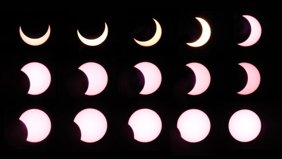 Un montage de toutes les étapes de l'éclipse.