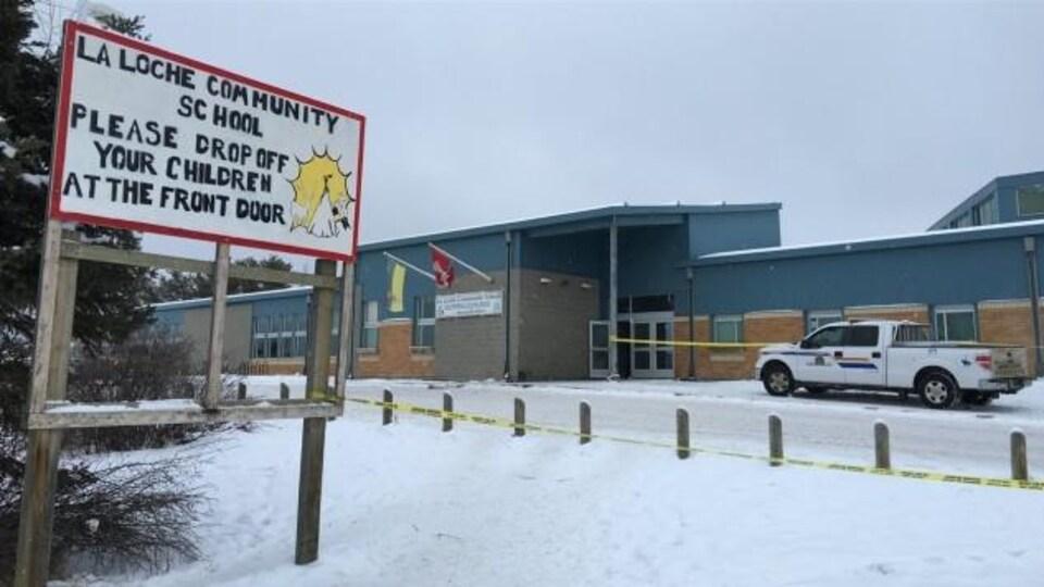 L'École communautaire de La Loche, en Saskatchewan, où s'est déroulée une fusillade mortelle le 22 janvier 2016.