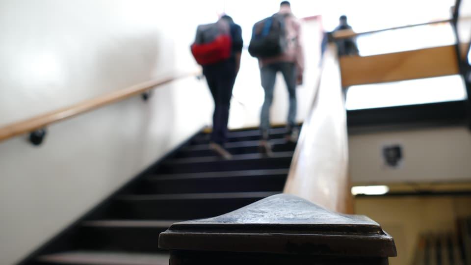Des étudiants montent un escalier.