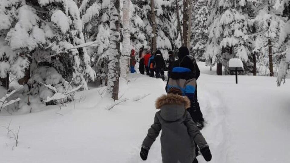 Des enfants marchent dans la neige en forêté