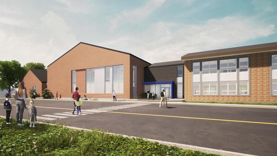 Des élèves marchent vers une école.