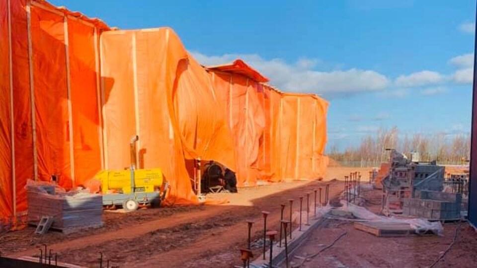Le projet de construction d'une nouvelle section à l'école, en décembre 2019.