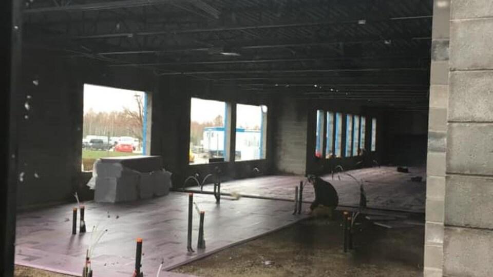 Le projet de construction d'une nouvelle section à l'école, le 12 mai 2020.
