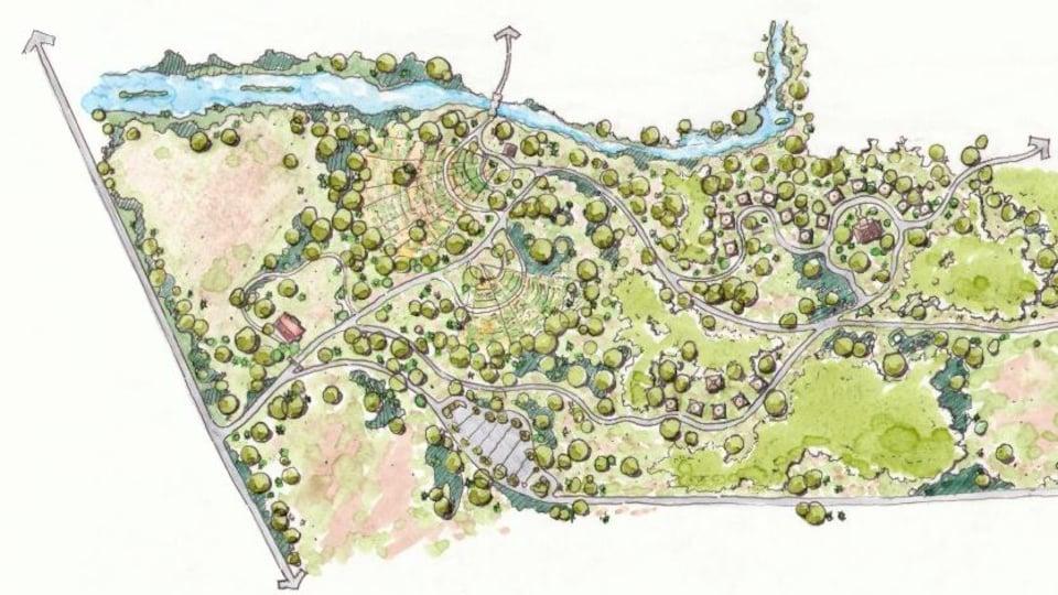 Un plan du village dessiné.