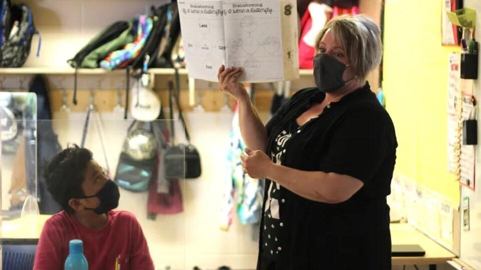 Une enseignante, qui porte un masque, tient un livre dans ses mains devant une classe.