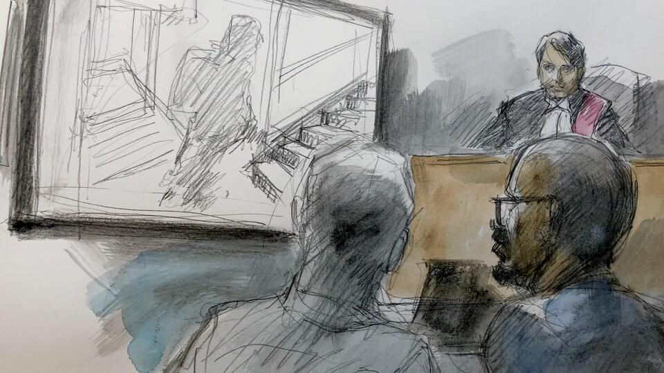 On voit une illustration judiciaire de l'avocat de la défense Geary Tomlinson et de son client.