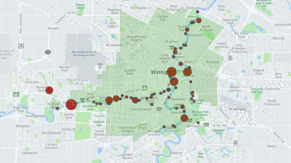 Carte des débordements d'égouts à Winnipeg depuis 2004
