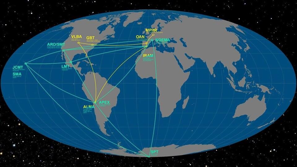 Carte illustrant les endroits où sont situés les instruments du radiotélescope virtuel EHT.