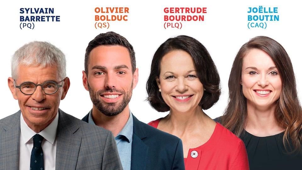 Les candidats des quatre principaux partis pour l'élection partielle dans Jean-Talon.