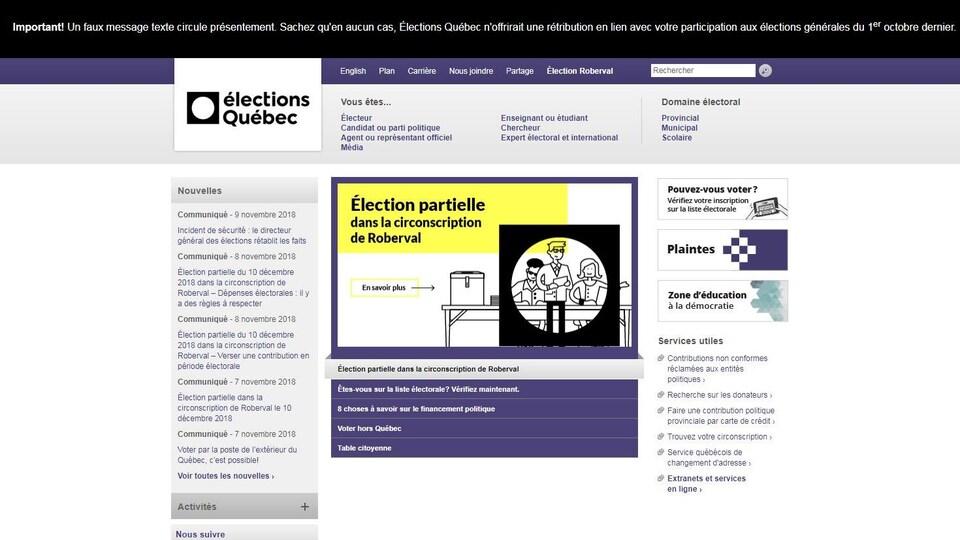 Texte du bandeau : «Important! Un faux message texte circule présentement. Sachez qu'en aucun cas, Élections Québec n'offrirait une rétribution en lien avec votre participation aux élections générales du 1er octobre dernier.»