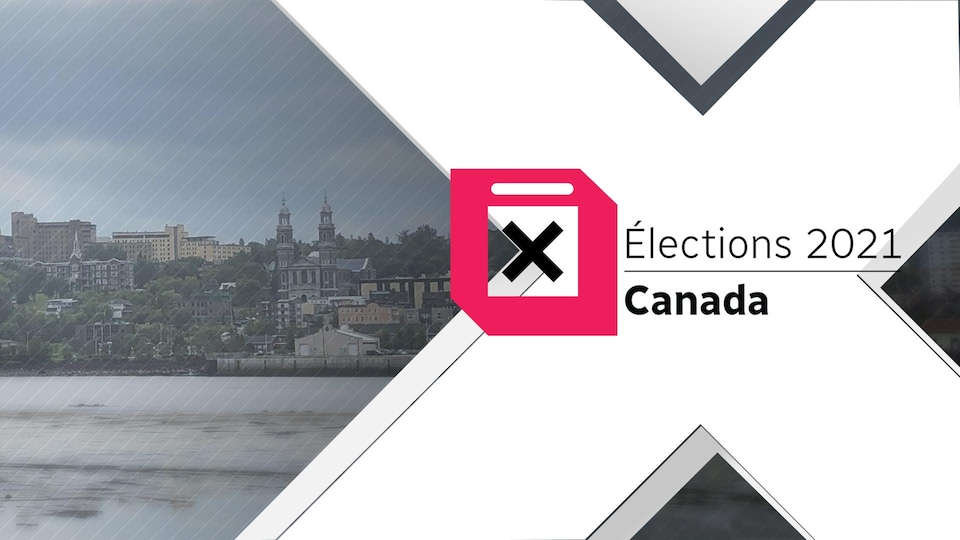 Un logo des élections fédérales 2021 avec Saguenay en arrière-plan.