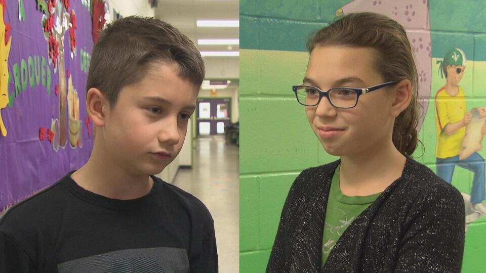 Photo de deux élèves de l'école St-Guillaume à Ottawa