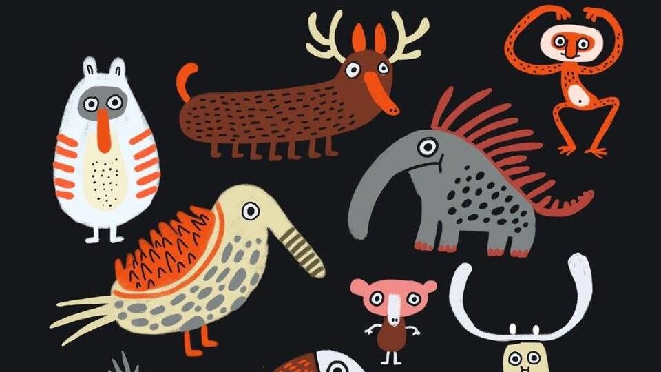Des animaux sont dessinés par l'illustratrice.