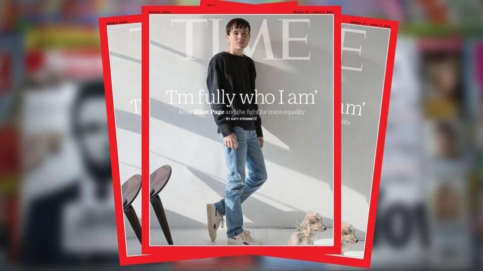 La couverture du numéro de mars-avril 2021 du magazine Time mettant en vedette Elliot Page.