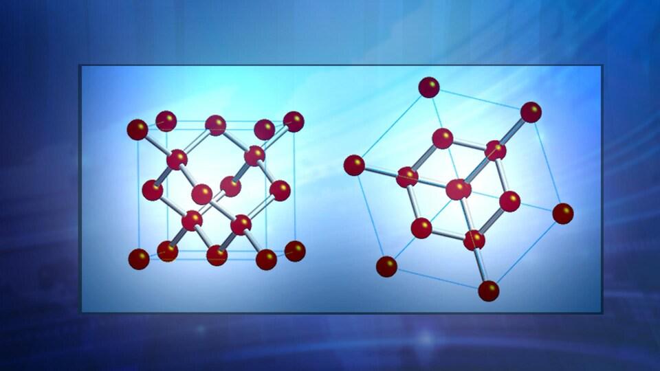 Structure atomique d'un diamant, une image de face et l'autre de côté