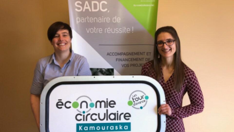 À gauche: Émilie Dupont, coordonnatrice de la démarche d'économie circulaire. À droite: Anik Briand, directrice générale de la SADC du Kamouraska.