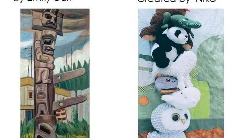Des peluches sont empilées les unes sur les autres pour imiter le totem de l'oeuvre Haida Totem d'Emily Carr.