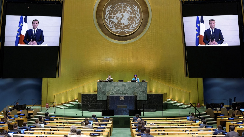 Le président Emmanuel Macron lors de son discours à la 75e Assemblée générale de l'ONU, à New York, le 22 septembre 2020.